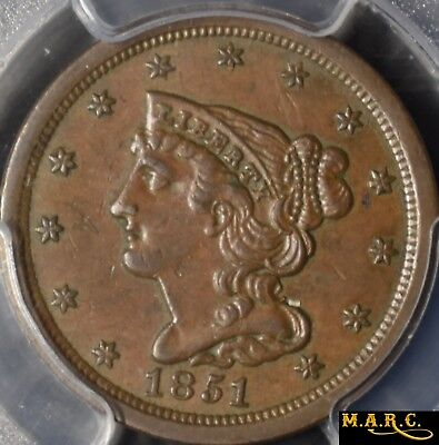 1851 AU55 PCGS 1C Braided Hair, Nice Color and Eye Appeal, Free Shipping, MARC