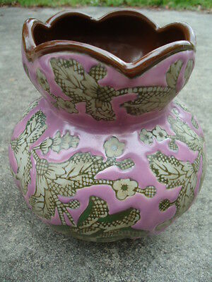 Large Procelain Purple Vase with Gray Roses & Leaves Sigmour Mann