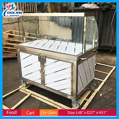 """48"""" Concession Food Cart Vending Curved Glass Display Push Caster Wheels New"""
