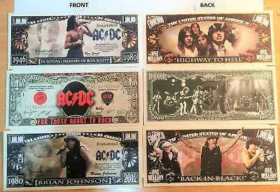 AC/DC Set Of 3 $1,000,000 Novelty Notes, Bon Scott, Brian Johnson, Rock, Music.