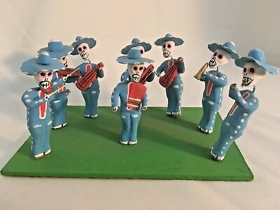 Mexico Folk Art Figurine Day of the Dead Mariachi Band
