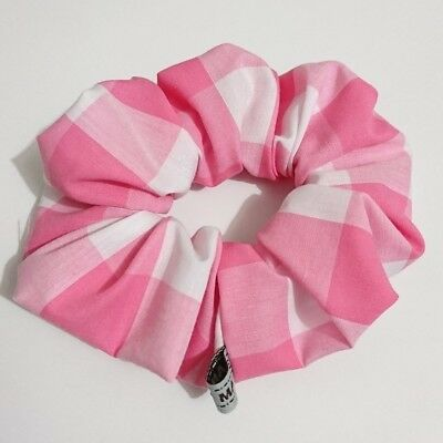 PINK Gingham check printed hair scrunchie ponytail holder HANDMADE  PINKY WIDE