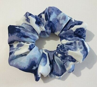 WATER COLOUR Handmade hair scrunchie ponytail holder wide elastic BLUE PURPLE