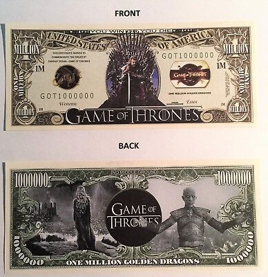 Game Of Thrones Rare $1,000,000 Novelty Note, TV Shows, Buy 5 Get one FREE