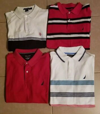 Lot of 4 Nautica Men's Polo Shirts Short Sleeve in size L/M