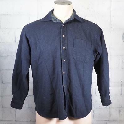 Vintage Pendleton Navy Blue Virgin Wool Mens Size S Button Down Shirt g25