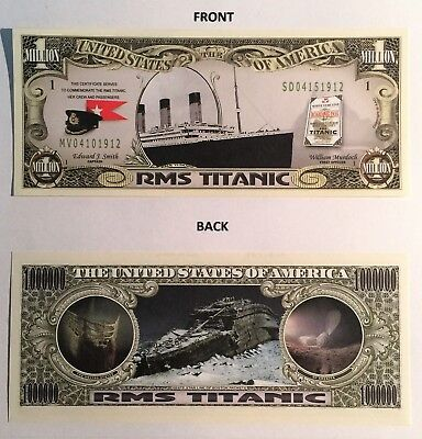RARE: RMS TITANIC 1 Million Dollar Novelty Note, Ships, Buy 5 Get one FREE, Gift