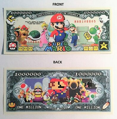 RARE: Super Mario, 1 Million Dollar Novelty Note, Games, Buy 5 Get one FREE,