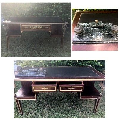 Louis XIV Style Vintage or Antique French Writing Desk Bureau & Marble Inkwell