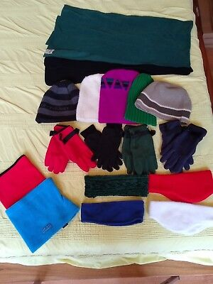 Assortment of 17 Boys Winter Hats, Gloves, Scarves, Head Bands, Neck Gaiters