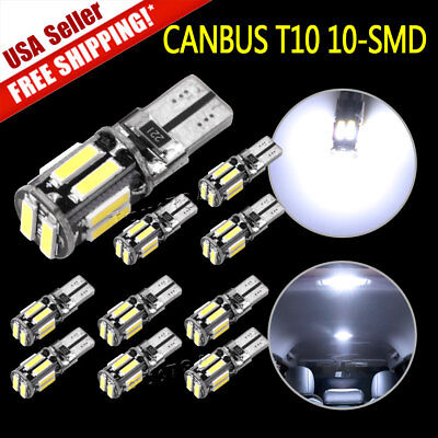 10X 7000K White T10 192 921 10SMD Led Canbus Interior Dome License Light Bulb