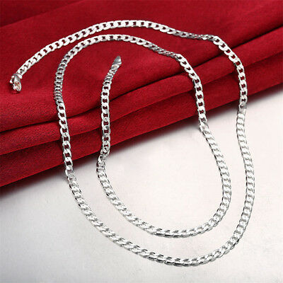 Stunning 925 Sterling Silver Filled 4MM Classic Curb Necklace Chain Wholesale EL