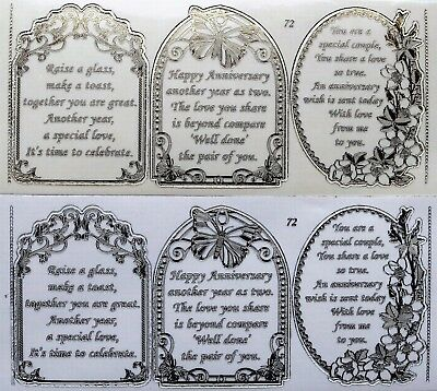 Double Embossed Clear Wedding Anniversary PEEL OFF STICKERS 3  Verses No. 72