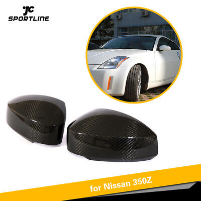 1Pair Carbon Fiber Door Side Wing Mirror Cover Caps Fit for Nissan 350Z 03-09