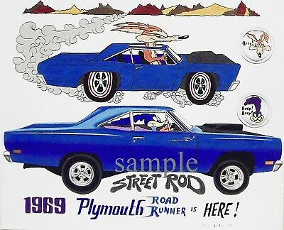 1969 Road Runner Blue Vintage Ad Style Art Wb A Print From Original Drawing
