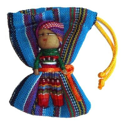 Large WORRY DOLL in Textile Bag - Hand made in Guatemala - PURPLE Pouch