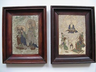 ANTIQUE RARE PAIR OF BEAUTIFUL  MOUNTED & FRAMED HAND PAINTED  TILE Signed