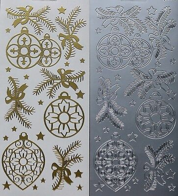 Two Tone Christmas Baubles PEEL OFF STICKERS Stars Cardmaking