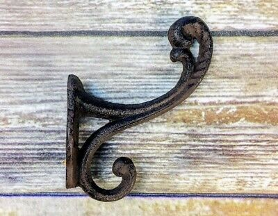 12 BROWN FANCY coat HOOKS CAST IRON hat WALL ANTIQUE-STYLE hardware rustic Lot