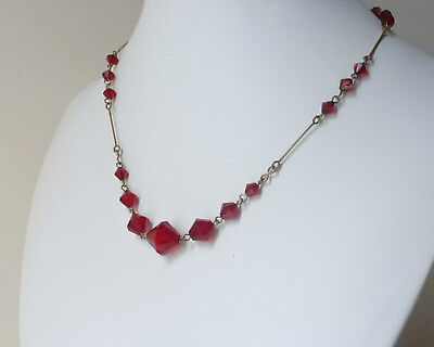 Lovely 1950's vintage red crystal necklace