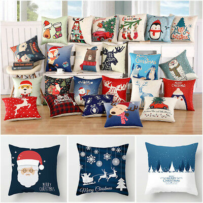 18'' Cotton Pillow Case Linen Cushion Cover Merry Christmas 2018 Home Decoration