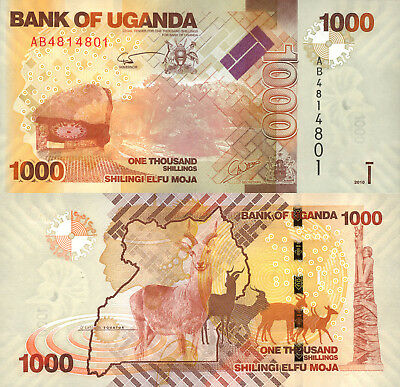 Uganda 1000 Shillings (2010) - Antelope/Coat of Arms/p49a UNC