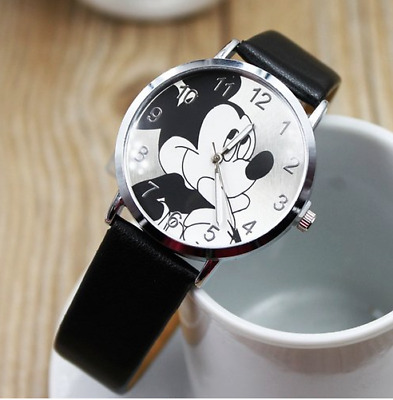 Mickey Mouse Classic Faux Leather Strap Wrist Quartz Watch-NEW