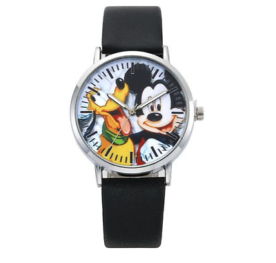 Mickey Mouse & Pluto Faux Leather Strap Wrist Quartz Watch-NEW