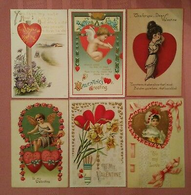 lot of 46 vtg antique Victorian Valentine's Day postcards from the early 1900's