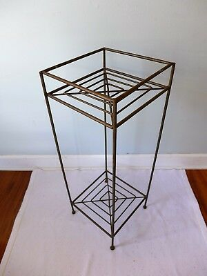 Vintage Wrought Iron Plant Stand 2 Tier Industrial Mid Century Modern Square Raw