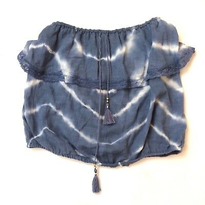 89618f4af276f4 NWT AMERICAN EAGLE Outfitters Purple Velvet Tie Dye Off Shoulder Top ...