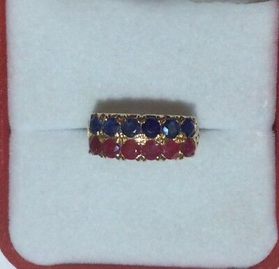 14k Solid Yellow Mixed Stone Ring With Natural Ruby/Sapphire 3.35GM/Size 6.5