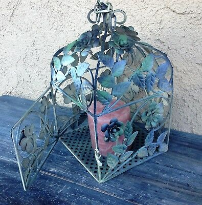 Large Wrought Iron Metal Floral Lantern Candle Holder Cage, Table Or Hanging