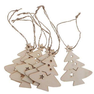 Blesiya 12pcs Wooden Christmas Tree Pendant with Jute Rope Hanging Decor