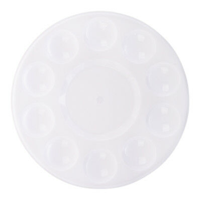 1X(10-Well Round Professional Strong&Light Plastic Paint Palette Tray-White K4J4