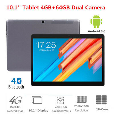 10.1'' 4G Tablet 4GB RAM+64GB ROM Android 8.0 10-Core 2.4/5Ghz WiFi Bluetooth4.0
