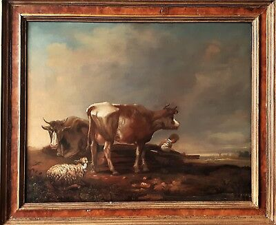 Fine 17Th Century Dutch Old Master Oil Painting On Canvas Cattle In A Landscape