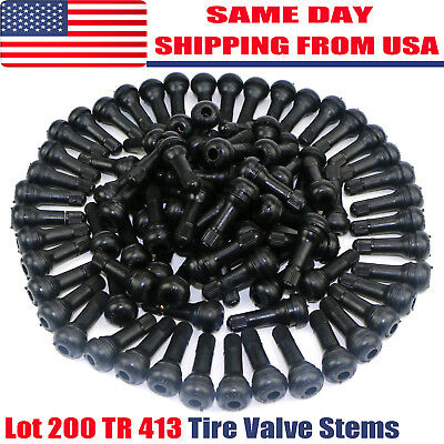 LOT 200 TR 413 Snap-In Tire Valve Stems Short Black Rubber Most Popular Valve