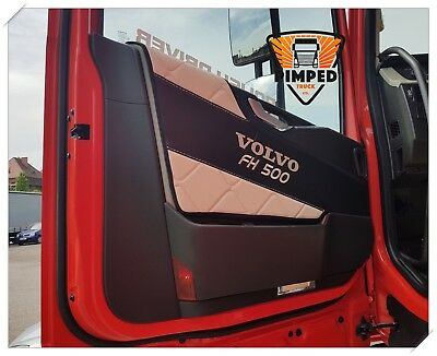 Door cards Volvo FH4 ECO LEATHER beige&black + embroidery FH500