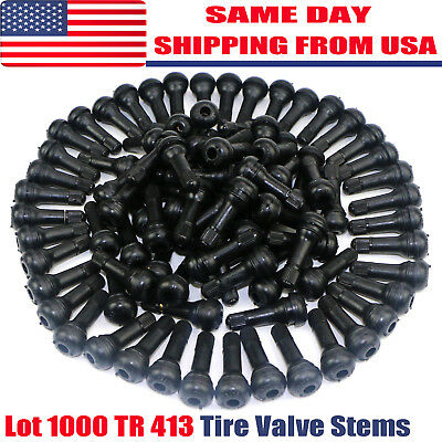 LOT 1000 TR 413 Snap-In Tire Valve Stems Short Black Rubber Most Popular Valve