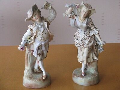 Rare 19Th Century Antique Pair Of Figures With Gold Gilt