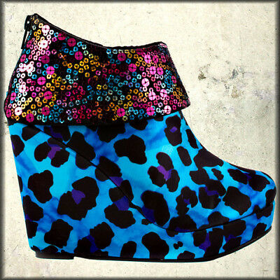 Iron Fist Treasure Box Leopard Punk Rave Goth Women Wedge Boots Shoes Blue Black