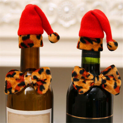 Christmas Leopard Bow Tie Hat Bottle Decoration Hat Bow Tie Red Leopard New YI