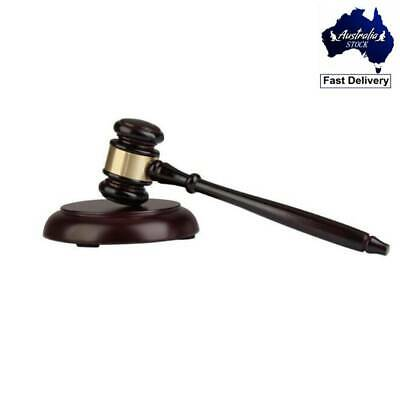 Wooden Handcrafted Gavel Hammer + Sound Block for Lawyer Judge Auction Sale