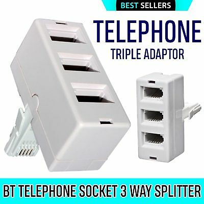 BT ADAPTER Triple Telephone Phone Socket 3 way Cable Splitter