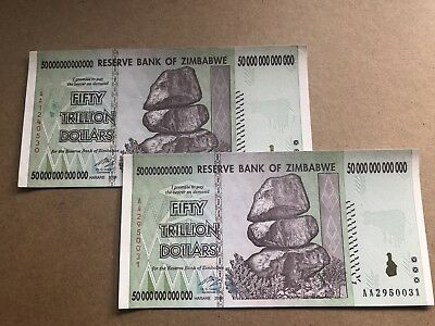 2 x Zimbabwe 50 Trillion Dollar Notes AA/2008 UNC Consecutive Numbers *BARGAIN*