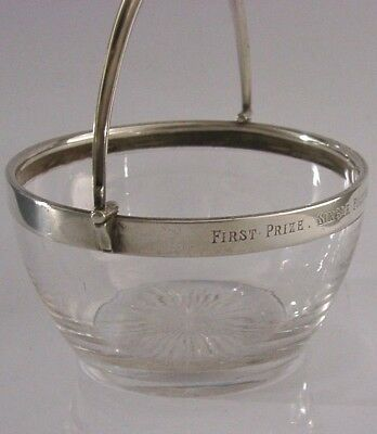 Bray Berkshire Solid Silver Punting Boating Glass Swing Handle Bowl 1884