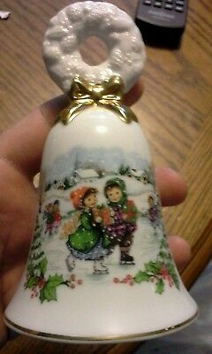 Vintage Avon Porcelain 1986 Christmas Bell - Children Ice Skating