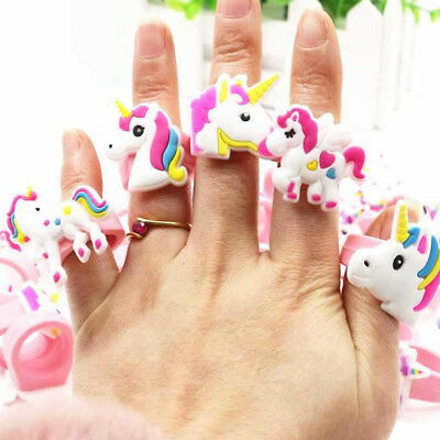 Lots Cartoon Unicorn Finger Ring Soft Silicone Party Bag Fillers Favor Kids Gift