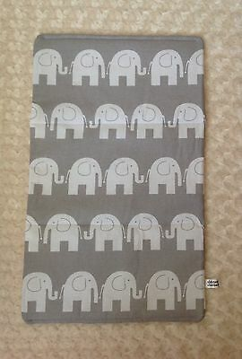 baby travel changing mat cotton waterproof elephants animals new grey white